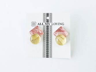 博多織と金糸のダブルイヤリング(RY-8)ピンク ゴールドの画像