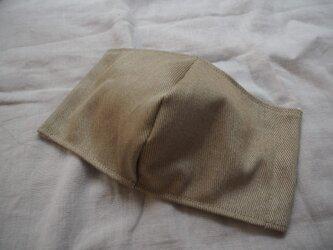 上質で艶のあるデニム生地使用★ダブルガーゼ立体マスク★ベージュMサイズの画像