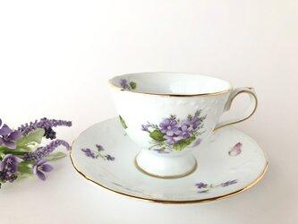 可憐なすみれと蝶々のカップ&ソーサーの画像