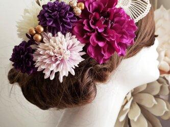 艶姫 蝶々とパープル系の髪飾り9点Set No740の画像