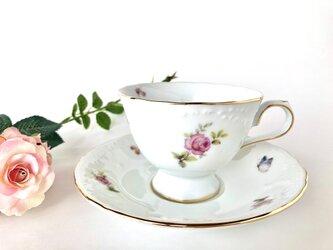 ミニローズと蝶々のカップ&ソーサーの画像