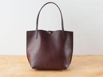 日本製牛革手縫いの小型トートバッグ  /  チョコの画像