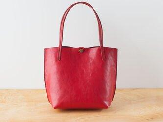 日本製牛革手縫いの小型トートバッグ  /  レッドの画像
