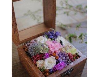 フラワーボックス ブラウン木箱の画像