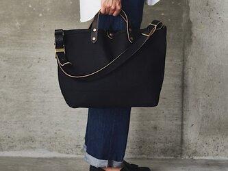 キャンバス レザー トートバッグ M ブラック | 大容量 黒 通勤 通学 メンズ レディース プレゼントの画像