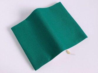 グリーンの帆布のブックカバー 文庫本用の画像