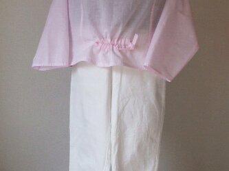 ピンクの木綿布が優しいブラウス 木綿の画像
