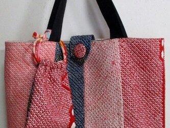 4824 絞りの羽織で作った手提げ袋 #送料無料の画像