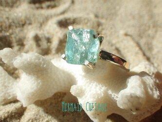 Raw Rough Apatite Ring ラフロック*ブルーアパタイト原石(スクエア)のシルバーリング/sv925の画像