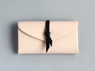 折りロングウォレット マグ#ベージュx黒 [3ポケットver]の画像