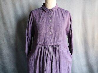 草木染5つボタンワンピース:紫#2005の画像