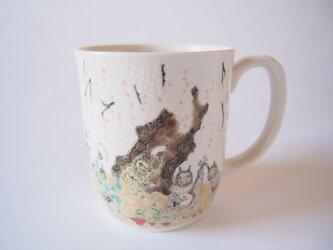 マグカップ しだれ桜と鬼達の画像