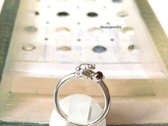 1月のカエル ガーネットと小さなカエルの指輪の画像