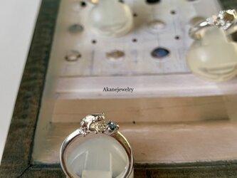 3月のカエル アクアマリンと小さなカエルの指輪の画像