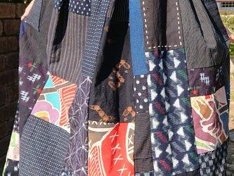 古布絣とのぼりの楽しい切り替えスカート その1  200424-1の画像