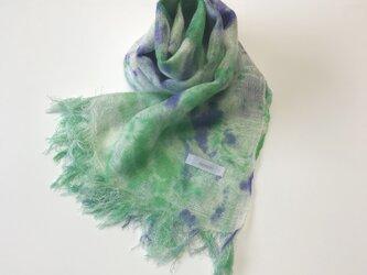 国産シルク100%手描き染めストール blue&greenの画像