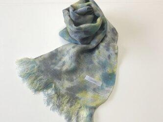 国産シルク100%手描き染めストール yellow&blue&grayの画像