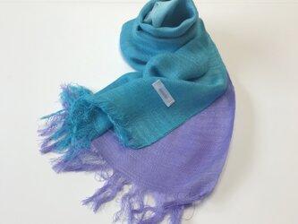 国産シルク100%手描き染めストール blue&purpleの画像