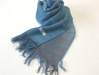 国産シルク100%手描き染めストール blue&grayの画像