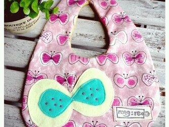 蝶々いっぱいスタイ ピンクの画像