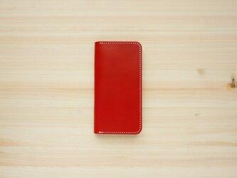 牛革 iPhoneSE2 カバー  ヌメ革  レザーケース  手帳型  レッドカラーの画像