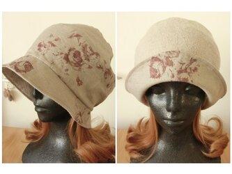 2way 麻100 ②アンティークローズ リバーシブル帽子 Mサイズ57,5㎝ かぶり方色々の画像