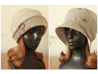 2way 麻100 ①アンティークローズ リバーシブル帽子 Mサイズ57,5㎝ かぶり方色々の画像