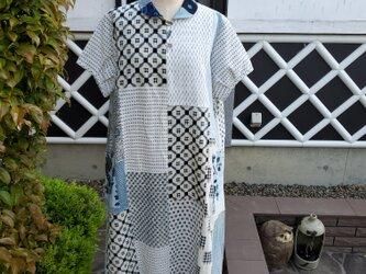 着物リメイク ハンドメイド 大和がすり 白絣など いろいろなかすりパッチ ワンピース の画像