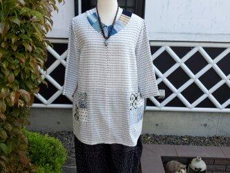 着物リメイク ハンドメイド 白絣 パッチ チュニックの画像