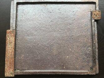 焼締&泥彩掛け分け長角皿「unevenness」の画像