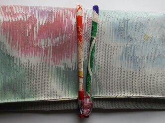 4828 花柄の着物で作った和風財布・ポーチ #送料無料の画像