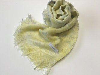 国産シルク100%手描き染めストール yellow&grayの画像