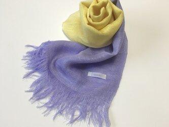 国産シルク100%手描き染めストール purple&yellowの画像