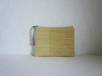裂き織りのフラットポーチ [草木のいろ・ローズマリー]の画像