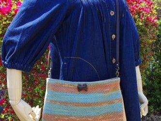 【送料無料】手染めの手織りショルダーバッグの画像