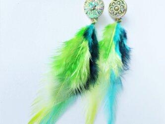 フェザーピアス 2ウェイ vintage btn earrings 2way <PE4-0420>の画像