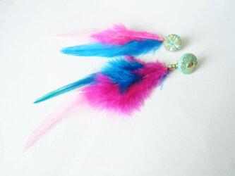 フェザーピアス 2ウェイ vintage btn earrings 2way <PE1-0420>の画像