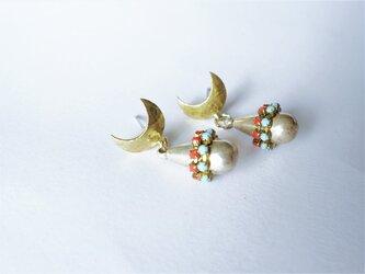 ドロップピアス ターコイズ×コーラル vintage drop earrings <PE12-0420>の画像