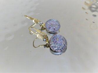 ヴィンテージガラスボタン ピアス vintage btn earrings <PE6-0420>の画像