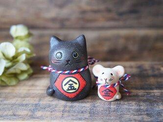 陶器【黒猫の金ちゃんとねずみの金ちゃん】の画像