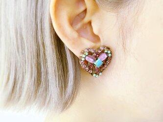 ヴィンテージビジューイヤリング ハート vintage earrings bijou <ER4-0420>の画像