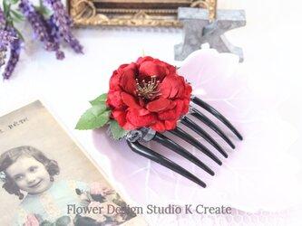 赤い薔薇とブラックベリーのコーム アーティフシャルフラワー レッド 赤 髪飾り 浴衣 ダンスの画像