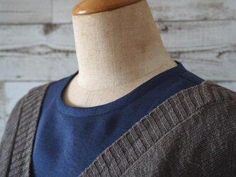 ネイビーリネン生地シャツ型襟無し付け襟の画像