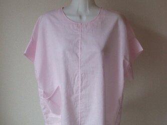 古布ピンク胴裏から半袖ブラウス 木綿の画像