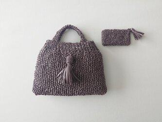 satin ribbon knit mini bag (geige)の画像