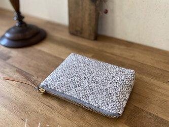 pouch[手織りミニポーチ]ライトグレーの画像