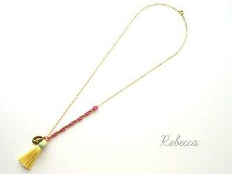 シルクタッセルネックレス Yellow x Pinkの画像
