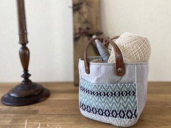 手織りポケットmini pot bag グレーの画像
