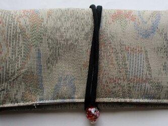 4829 色大島紬で作った和風財布・ポーチ #送料無料の画像