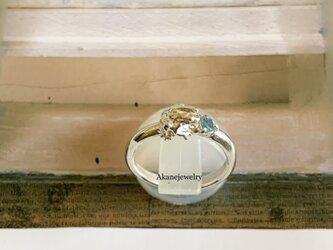 11月のカエル ブルートパーズと小さなカエルの指輪の画像